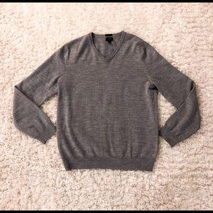 J Crew Merino Wool Grey Knit V-Neck Sweater